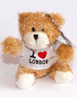 White I Love London teddy keychain