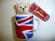 Mini union jack mug containing teddy